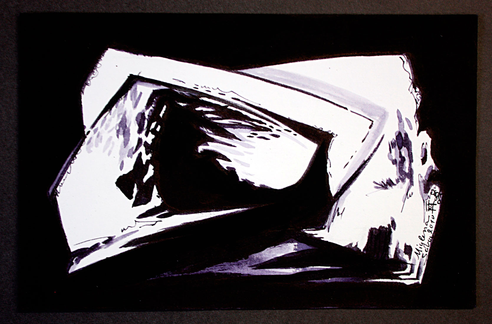6 x 14 cm drawing ink on paper abstract art